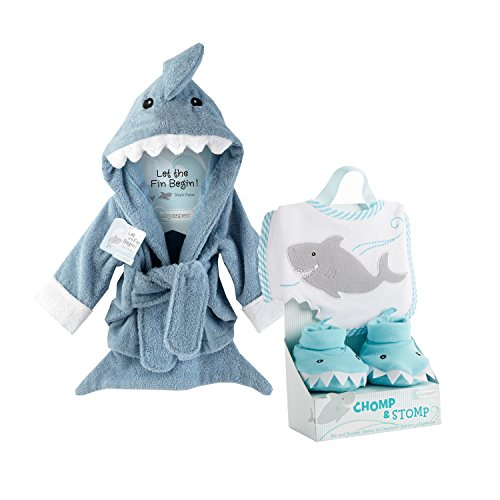 Baby Aspen Shark Gift Bundle with Shark Chomp & Stomp and Shark Robe, BLUE