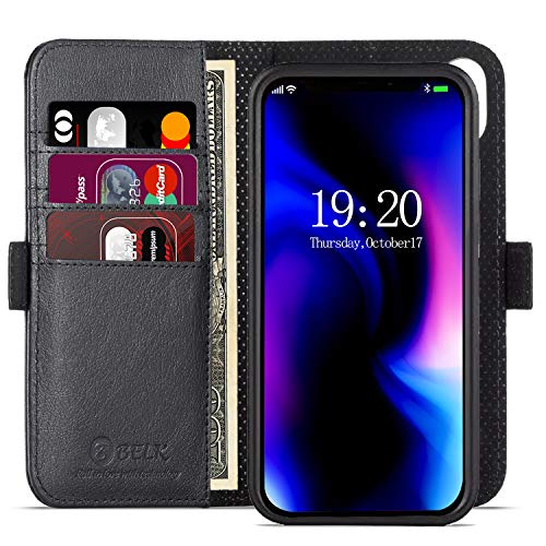 iPhone Xs Max Case, BELKA Slim Detachable Wallet Case Support Wireless Charge, Kickstand Flip Leather Cover for iPhone Xs Max 6.5 inch