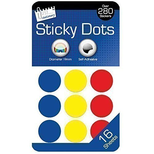 The Home Fusion Company Sticky Colour Round Dots Spots Circles 280 Labels Stickers 19Mm Self Adhesive