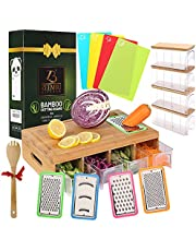 ZEEMBU Bamboo Cutting Board with Containers -Tidy Board Cutting Board – Prepdeck Meal Prep Station Cutting Board – Bamboo Cutting Board with 4Drawers/4Bamboo Lids/4Graters/4Inserts- Cut Board Pro.