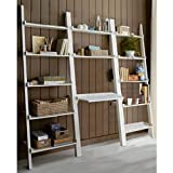 3-piece White Leaning Ladder Bookshelf with Laptop Desk