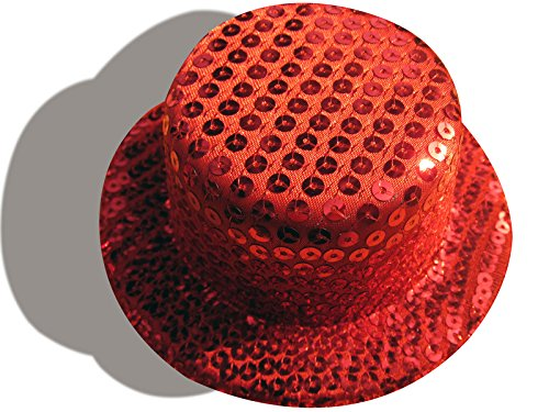 Lawliet Sequin Mini Top Hat Millinery Craft Alligator Clips A008 (Red)
