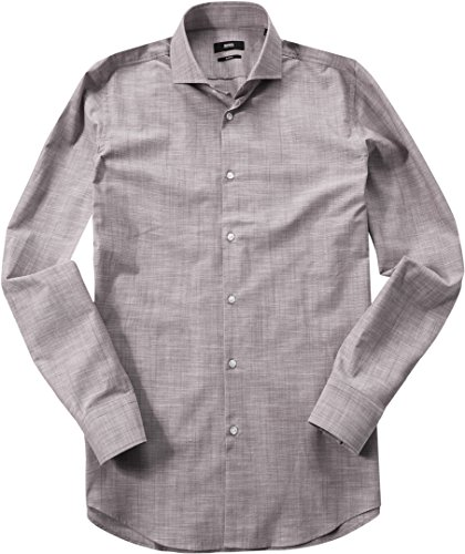 HUGO BOSS Herren Hemd Jason Baumwolle Oberhemd Meliert, Größe: 43, Farbe: Beige