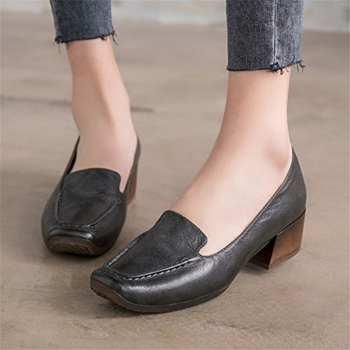 amp; B Block Head Square Shoes Heel 37 New Career Leather Office for Shoes Ladies Size Color Women's Dress 2018 Sq7na