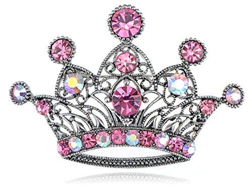 Alilang Silvery Tone Iridescent Pink Colored Rhinestones Princess Crown Brooch Pin