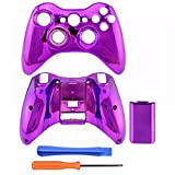 xbox360 controller covers purple - Gotor Purple Chrome Plastic Top Bottom Shell Case + Battery Cover for Xbox 360 Wireless Controller Mod Kit