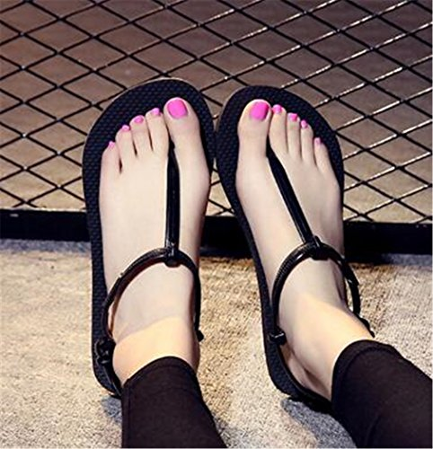Sandales Noir Flip Flops Summens Plage Slipper Femme DIY Talons Tongs gadYxz