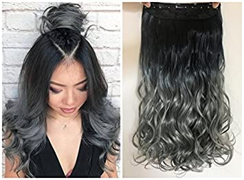 Devalook 20 Thick One Piece Straight Wavy Curly Half Head Ombre Clip In Hair Extensions