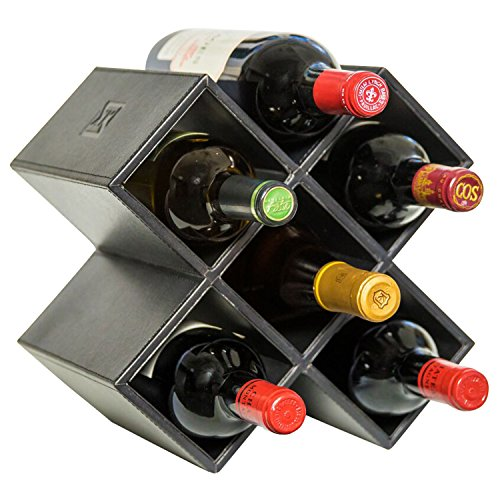 Kaydian Krafts Countertop Wine Rack - 6 Bottle Decorative Tabletop Wine Bottle Holder - No Assembly Required (Dining Room Leather Cabinet)
