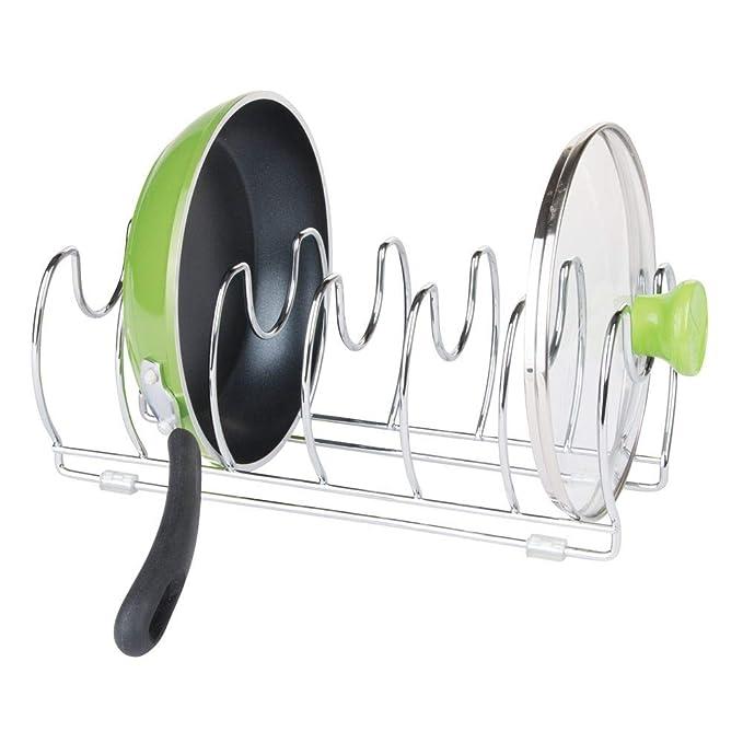 mDesign Organizador de sartenes y tapaderas - Soporte de metal cromado con 6 compartimentos para sartenes y tapas de ollas - Organizador de cajones y ...