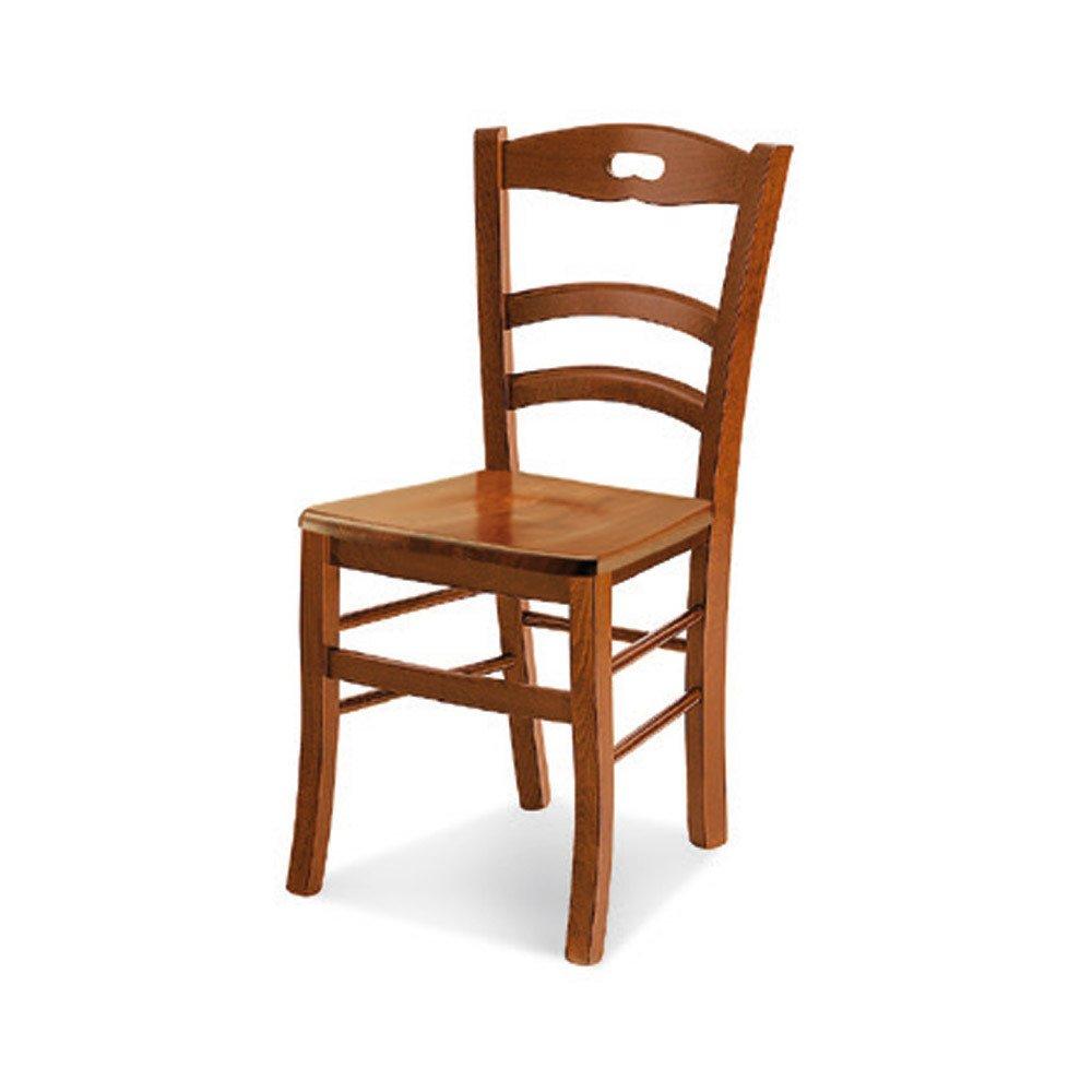 InHouse srls Coppia sedie, arte povera, in legno massello con rifinitura in noce