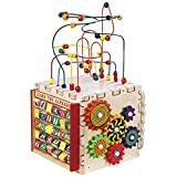 Kids Learning Cube And Activity Center- Tabletop Mini-Cube With Multiple Activity & Skill Development Activities- Counting Abacus, Alphabet Spelling, Beads More- Hours of Motor Skills Development