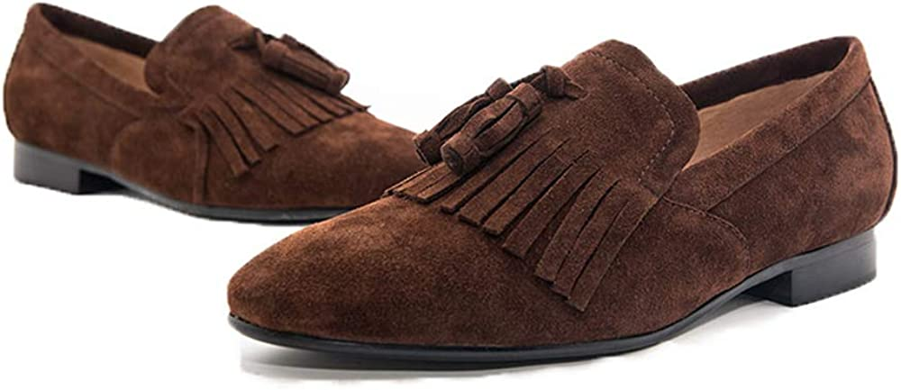 Jeder Schuh Men Shoes Handmade Shoes with Classical Brogue Printing and Suede Fringe Party Men Loafers