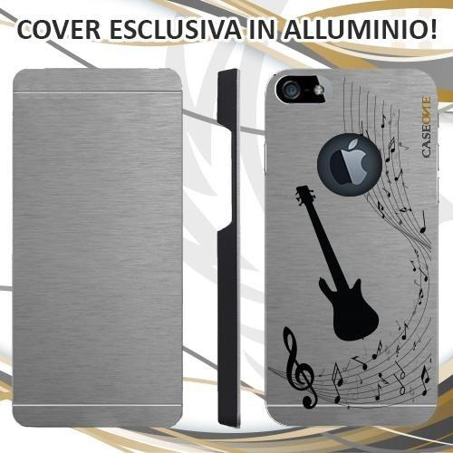 CUSTODIA COVER CASE BASS MUSICA NOTA PER IPHONE 5S ALLUMINIO TRASPARENTE