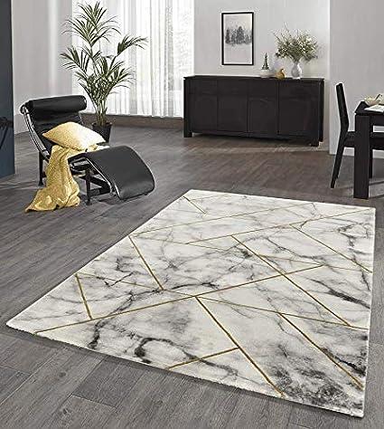 Designer Teppich Wohnzimmer Teppich Marmor Optik mit Glanzfasern in Grau  Gold Größe 160x230 cm