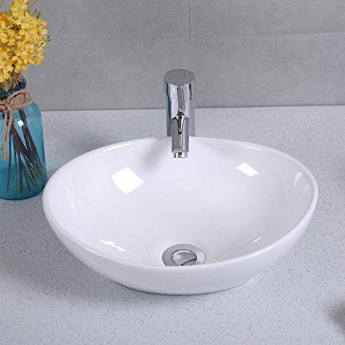 Ainfox Vessel Sink Vanity Bowl Ceramic with Pop-up Drain White Oval for Bathroom