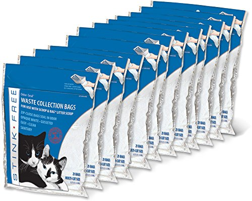 Stink Free Odor-Seal Cat Litter Poop Collection Bags 12 Pkgs (252 Bags) – Seal in Odor!