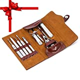 Professional Sharp Nail Clipper Leather Set, Stainless Steel 12pcs Manicure Pedicure Set, Cuticle Nipper, Tweezers,Beauty Travel Manicure Kits for Men/Women (Brown)