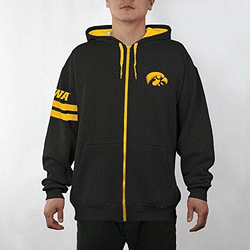 Elite Fan Shop NCAA Iowa Hawkeyes Men's Zip Up Hoodie Sweatshirt Gray Applique Icon, Dark Heather Gray, X-Large