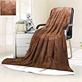 YOYI-HOME Digital Printing Duplex Printed Blanket Copper Plate Texture Old Metal Summer Quilt Comforter/47 W by 79'' H