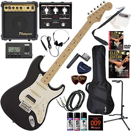 FENDER エレキギター 初心者 入門 日本製 定番モデルのルックスにモダンなスペックが調和したストラト。PUはH-S-S構成。 マルチエフェクターも入ってる!最強の20点セット Made in Japan Hybrid 50s Stratocaster HSS/USB(USブロンド) B07QNGB1LL BLK(ブラック)  BLK(ブラック)