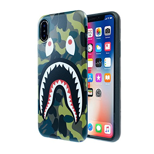 iPhone X /10 Shark Face Case Street Fashion: Luxury Flexible Durable Designer Protective TPU Cover/Bumper/Skin/Cushion only for 5.8 iPhone X (Camo Green)