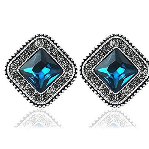 Filigree Diamond Geometric - TOPOB Fashion Womens Earrings, Retro Boho Blue Diamond Crystal Geometric Square Alloy Earrings Ear Clip (Blue)