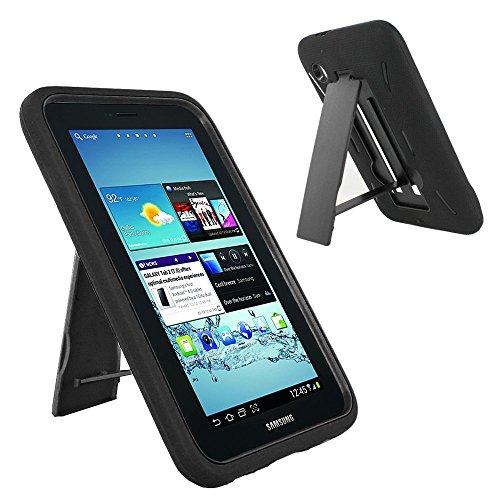 Galaxy Tab 2 7.0 Case, KIQ Shockproof Drop Proof Dual-Layer Heavy Duty Cover Kickstand for Samsung Galaxy Tab 2 7.0 P3100 (Hybrid Black-in/Black) (Best Case For Galaxy Tab 2)