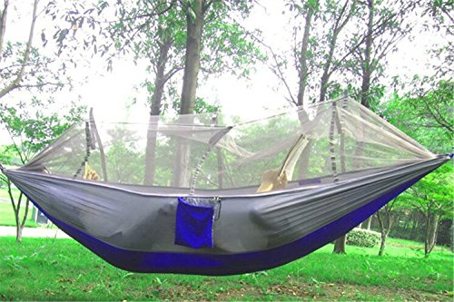 EIALA Camping Hammock, Mosquito Net Outdoor Hammock Travel Bed Lightweight Parachute Fabric Double Hammock For Indoor, Camping, Hiking, Backpacking, Backyard (Grey + Blue)