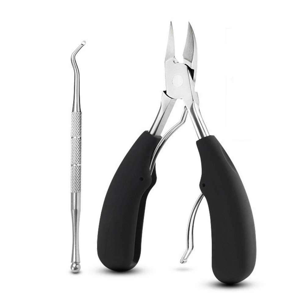 Precision Toenail Clipper Set For Thick Nails Or Ingrown Toenails, Heavy Duty Toe Nail Clippers - Large Stainless Steel Super Sharp Blades With Soft Ergonomic Grip Handles - Wide Scissors Tool Garrelett