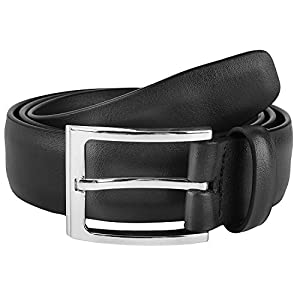 Savile Row Mens Classic Dress Belt 100% Leather 35 MM Black Size 38