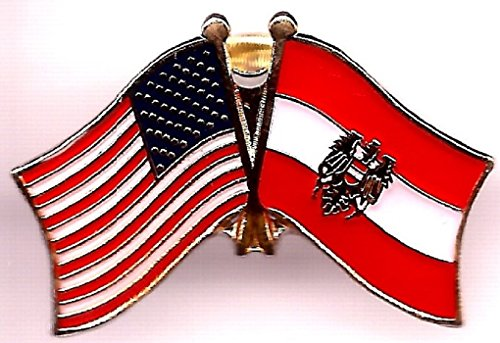 PACK of 3 Austria Eagle & US Crossed Flag Lapel Pins, Austrian & American Friendship Pin Badge