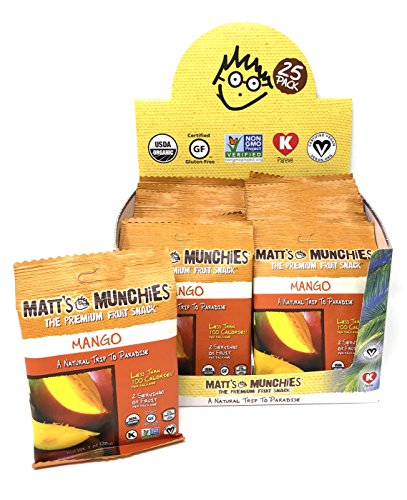 Matt's Munchies Mango 25 Pack Caddy Organic Non-GMO Fruit Leather Peelable Fruit Snack ()