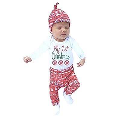 LAEMILIA Vêtement de Nuit Noël Bébé Fille Barboteuse Bonnet Noël Pantalons  Ensembles Fête Déguisement Enfant ( 2e3f68c4f69