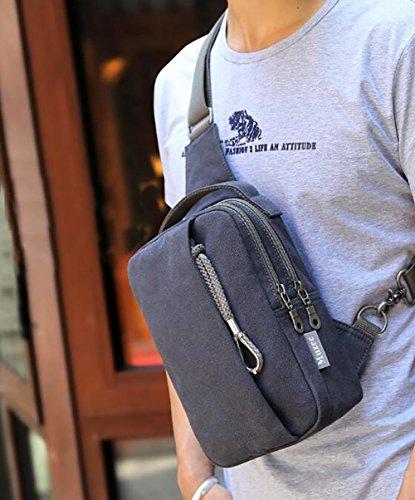 Bolso de hombro bolso del pecho de los hombres bolso torcido ocasional 25 * 16 * 10cm de la lona black Black