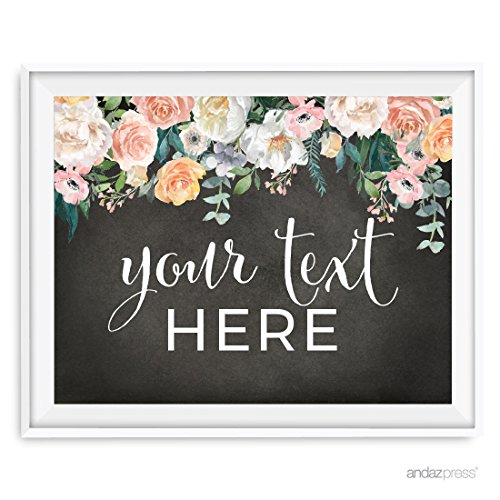 Andaz Press Peach Chalkboard Floral Garden Party Wedding Collection Fully Personalized, Party Signs, Your Text Here, 8.5x11-inch, 1-Pack, Custom Made Any Text]()
