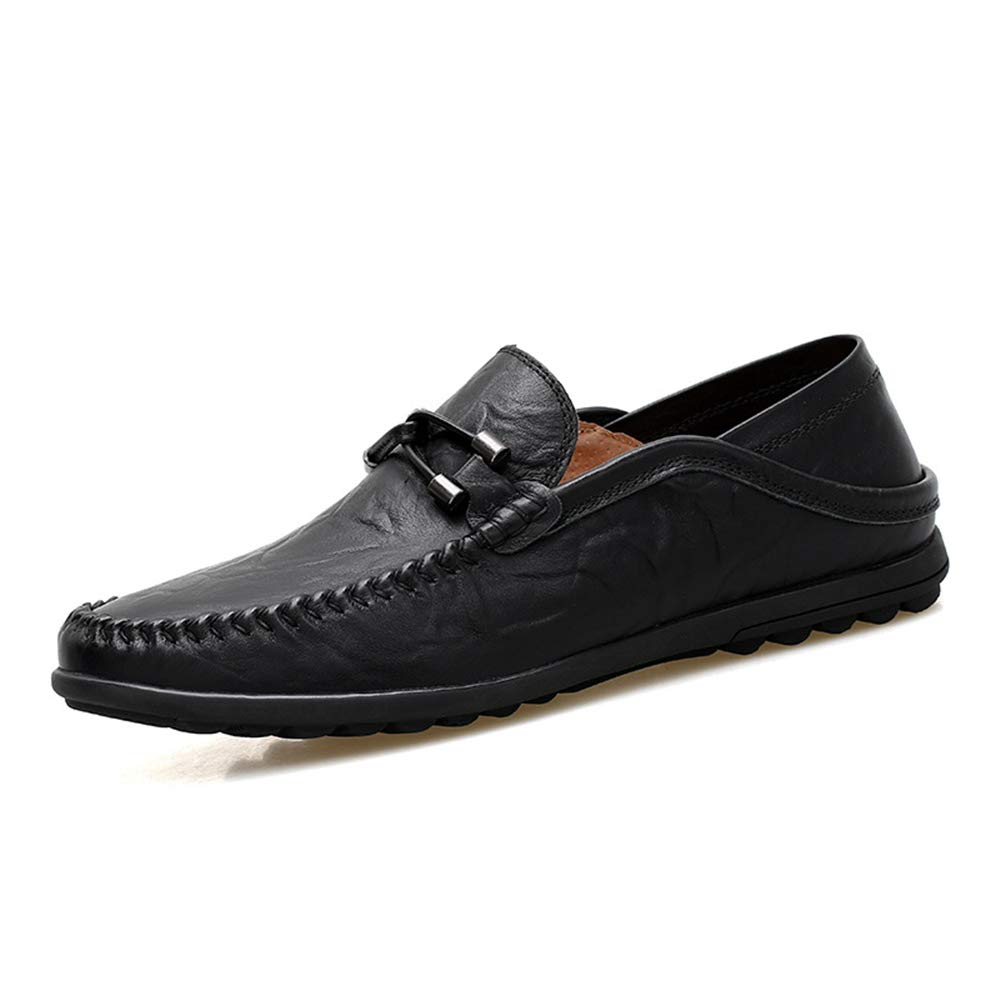 Fuxitoggo  Leder  Herren Casual Echtes Leder  Flach Driving Buckle Breathable Large Größe Loafers (Farbe : Gelb, Größe : EU 44) Schwarz ef76cb
