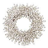 VGIA 22 inches Artificial Christmas Wreath  White and Champagne Artificial Balls Wreath Front Door Wall Window
