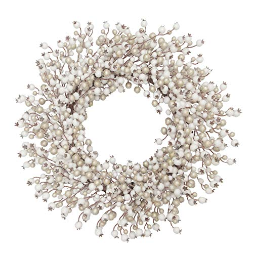 VGIA 22 inches ArtificialChristmas WreathWhite and Champagne Artificial Balls Wreath Front Door Wall Window (Wreath Ball)