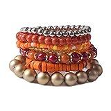 Stacked Bracelets - 7Pcs Multi Layers Bracelet - Bohemian Stretch Beaded Bangle Chain for Women