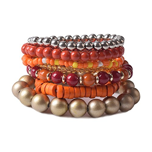 TQS Stacked Bracelets - 7Pcs Multi Layers Bracelet - Bohemian Stretch Beaded Bangle Chain Women