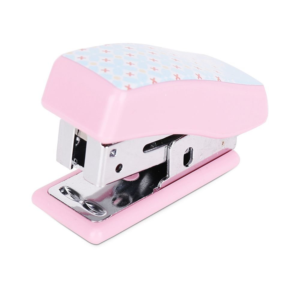 Jia Hu 1Pc Cute Mini Stapler One Finger No Effort Spring Powered Stapler with Standard Staples for Office and School Pink