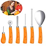 iBaseToy Halloween Pumpkin Carving Tools Kit 6 Pieces, Sturdy Stainless Steel Pumpkin Carving Set - Easily Carve for Pumpkin Decorations by Creative Jack-O-Lantern Carving