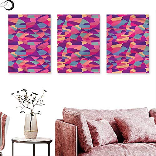 Anniutwo Patchwork Wall hangings Stained Glass Mosaic Tile Triptych Wall Art W 24