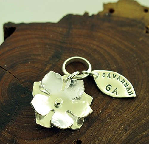 (Magnolia Flower Savannah GA Charm, sterling)