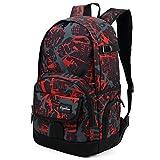 Best Backpacks For High School Boys - Ricky-H Red/Black Graffiti School Backpack for Girls Review