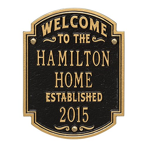 Whitehall Personalized Welcome to Our House Custom Indoor/Outdoor Aluminum Wall Plaque - Black/Gold