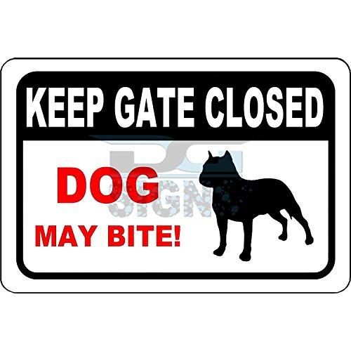 Personalizado señales de metal para exteriores Keep puerta cerrada–perro puede Bite–Señal de aluminio 30.5x...