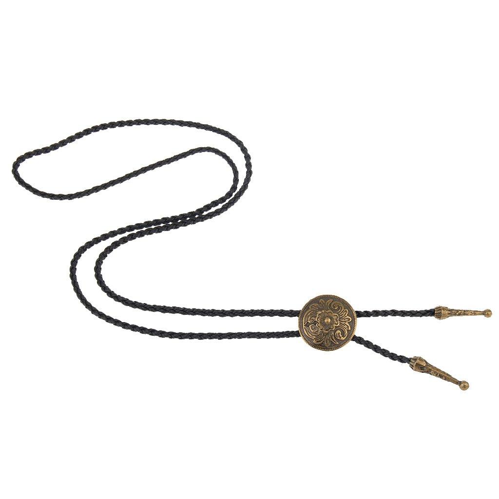 Lianchi Cravate Bolo noire pour homme et femme Pendentif plumes Chapeau en cuir am/érindien
