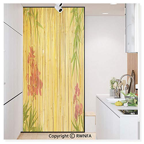 RWN Film Removable Static Decorative Privacy Window Films Lotus Flower and Bamboo Background on Stems Tropical Plant Oriental Art Print for Glass (17.7In. by 78.7In),Red Green Gold